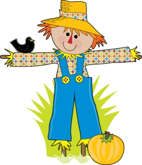 Scarecrow and pumpkin clipart