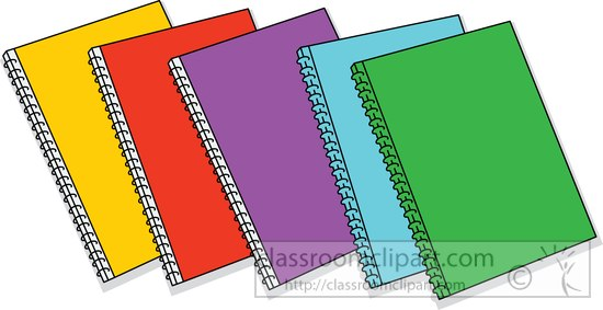 School school supplies spiral multi colored binders clipart 2