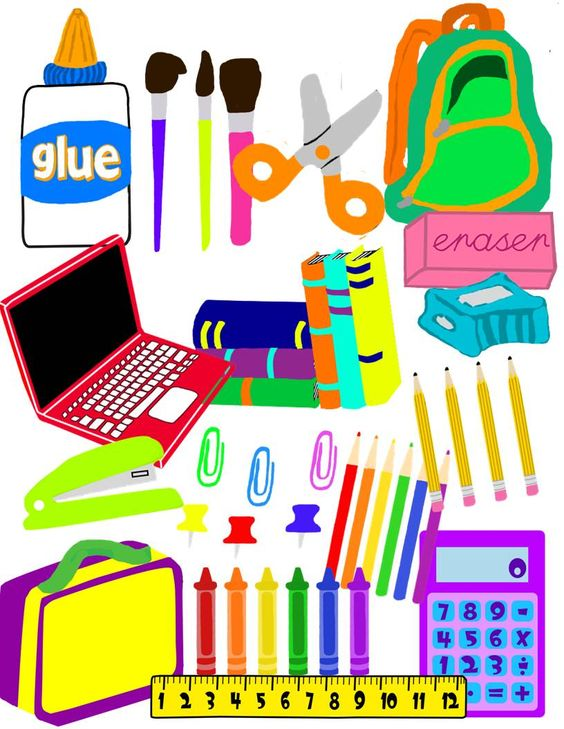 School supplies clip art back to colors and organization