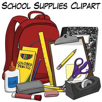 School supplies clip art by digital clipart teachers