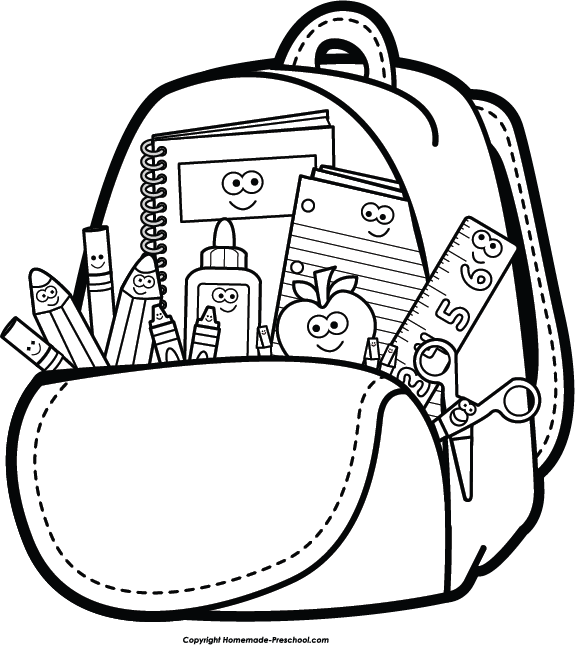 School supplies clipart free black and white