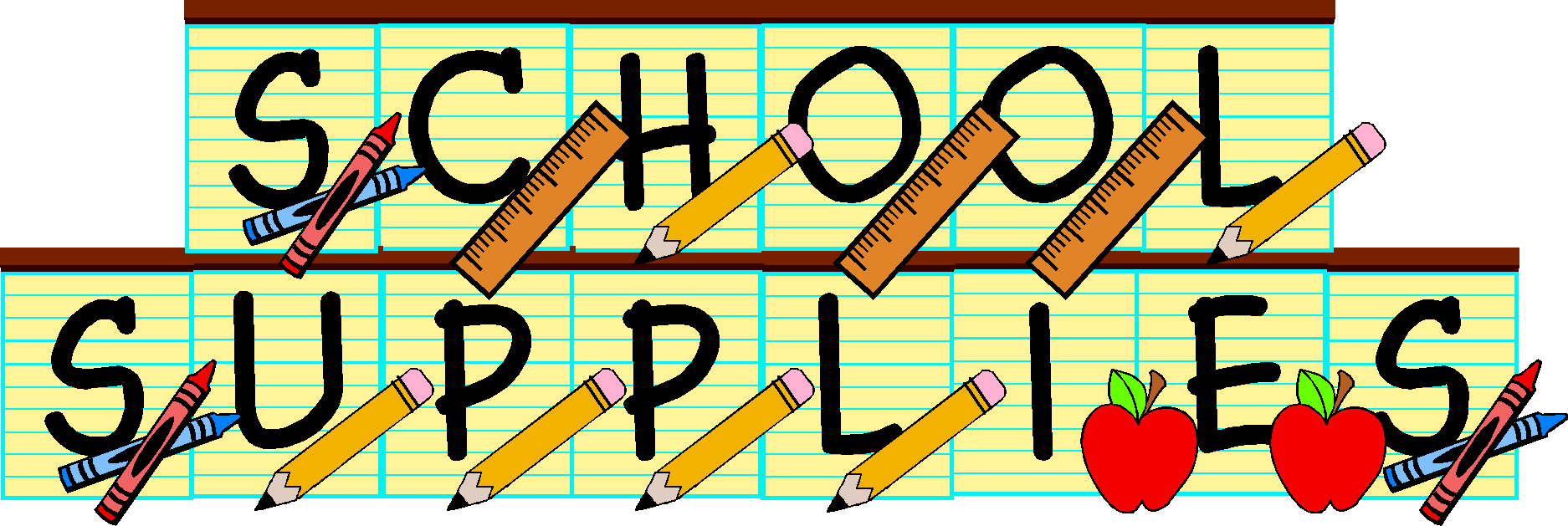 School supplies drive clipart 2