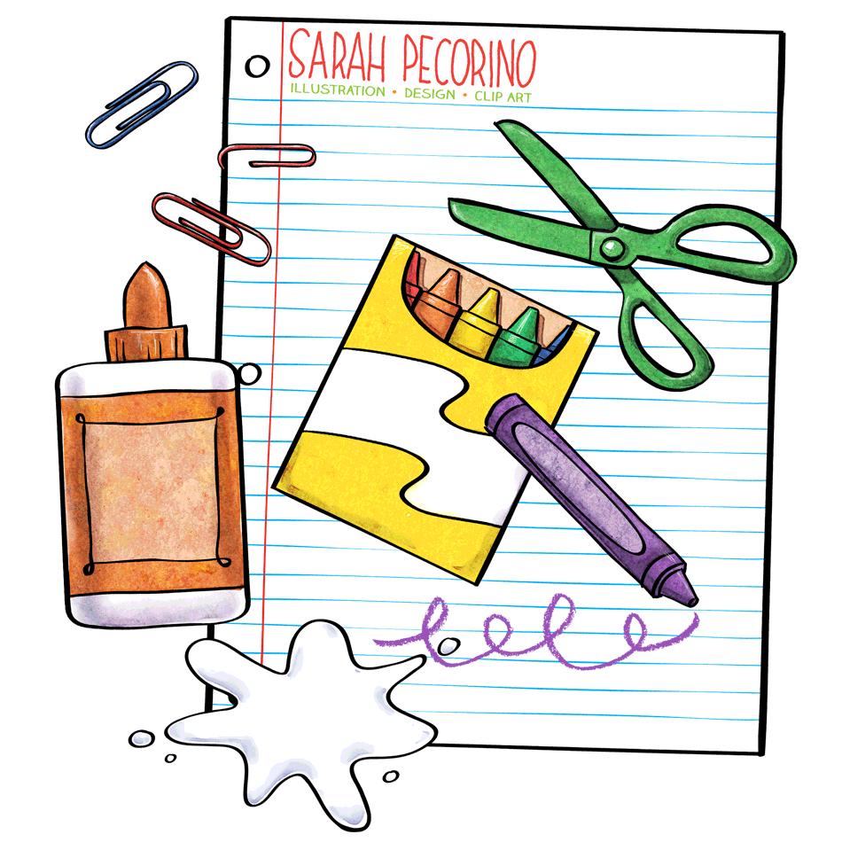 School supplies work supplies clipart
