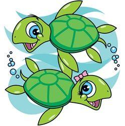 Sea turtle turtles girl clip art