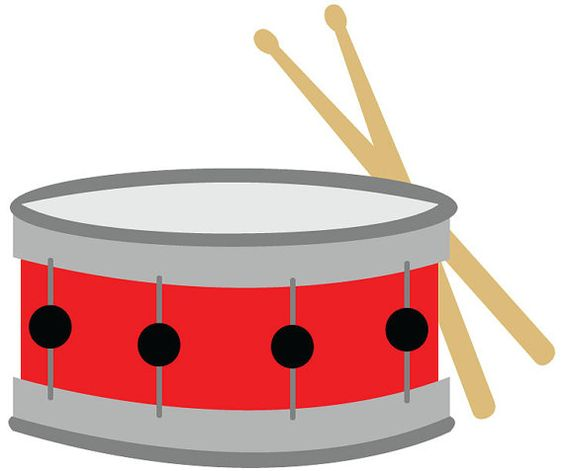 Snare drum clip art red with drumsticks vector
