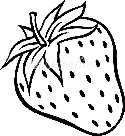 Strawberry black and white clipart