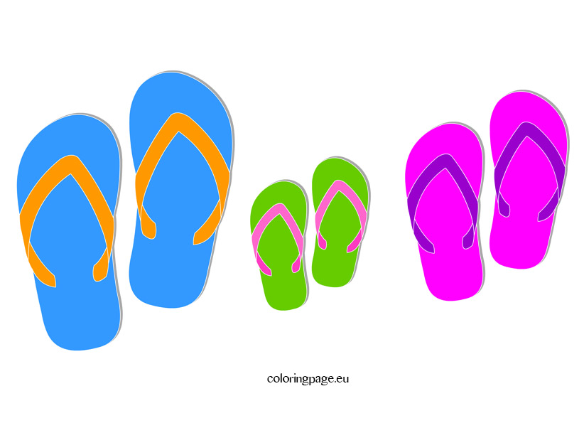 Summer flip flop clipart coloring page