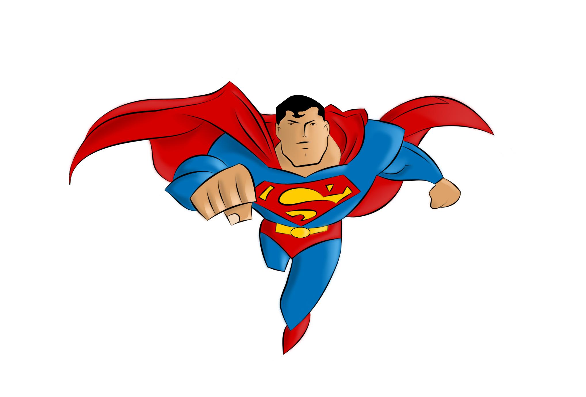 Superman clip art black and white free clipart