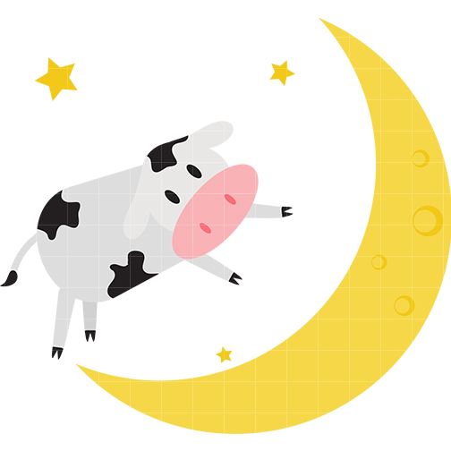 The cow jumped over moon clipart