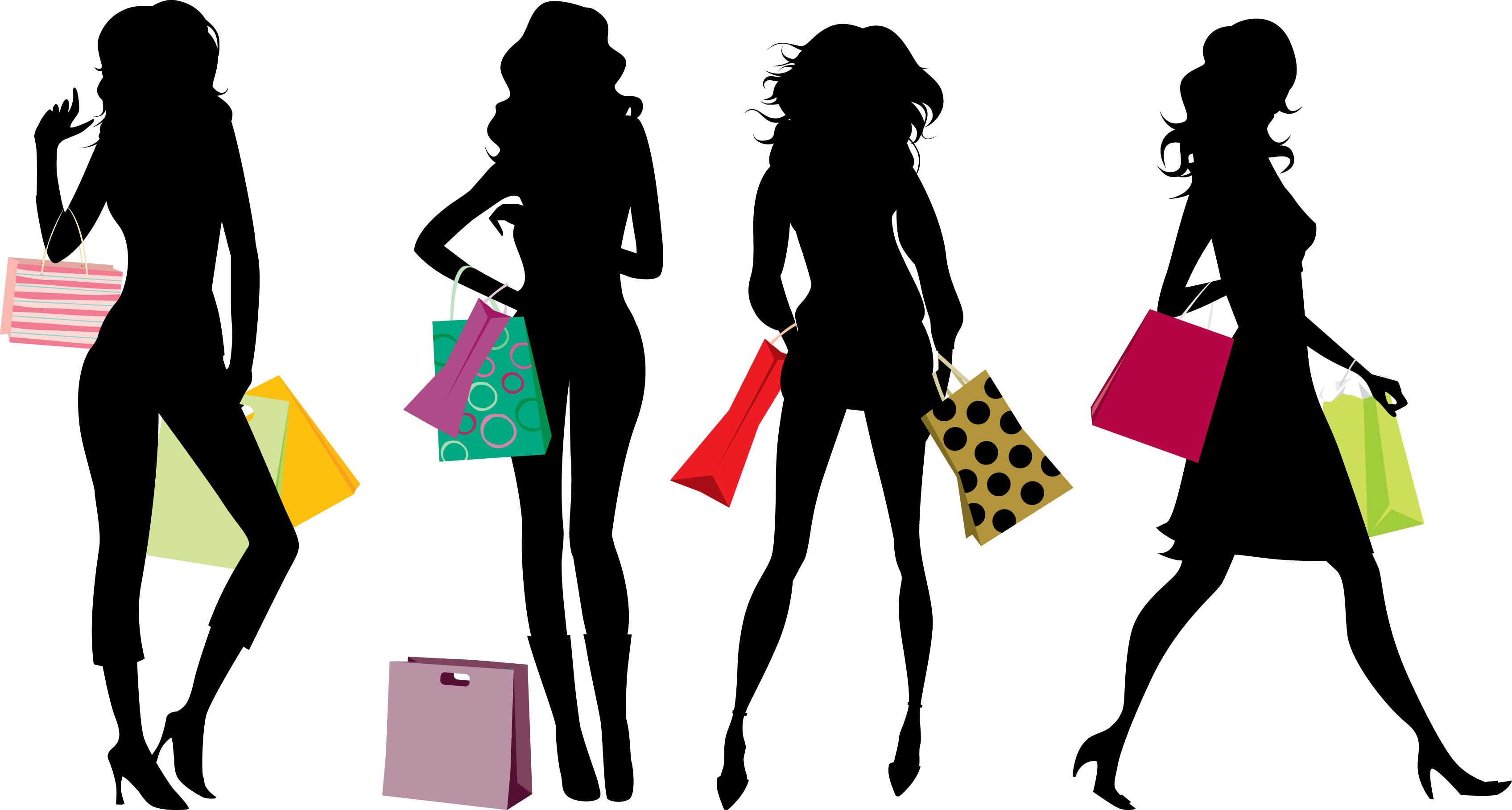 Women shopping clip art 2