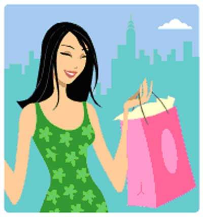 Women shopping clip art 3