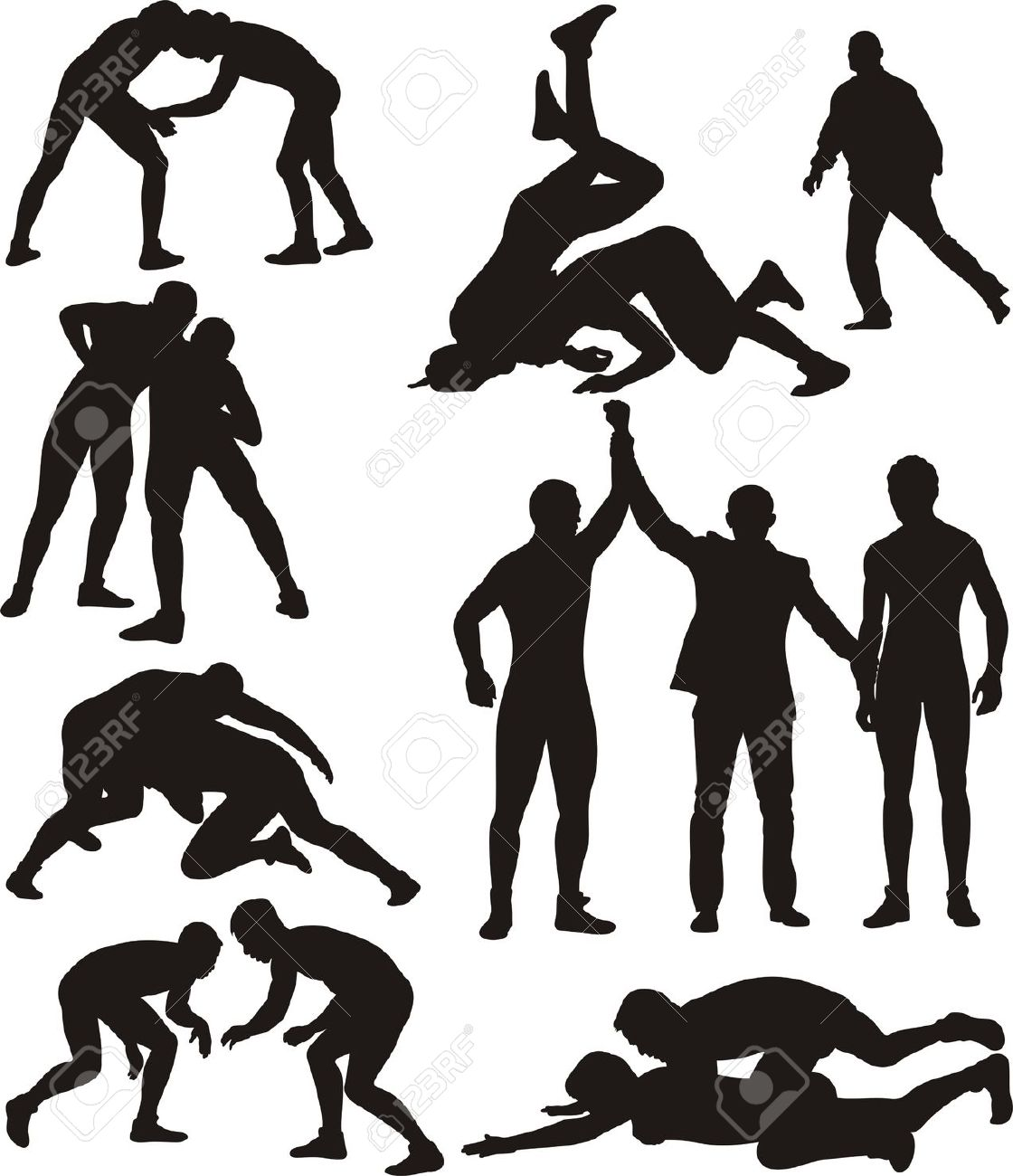 Wrestling clipart silhouette 3