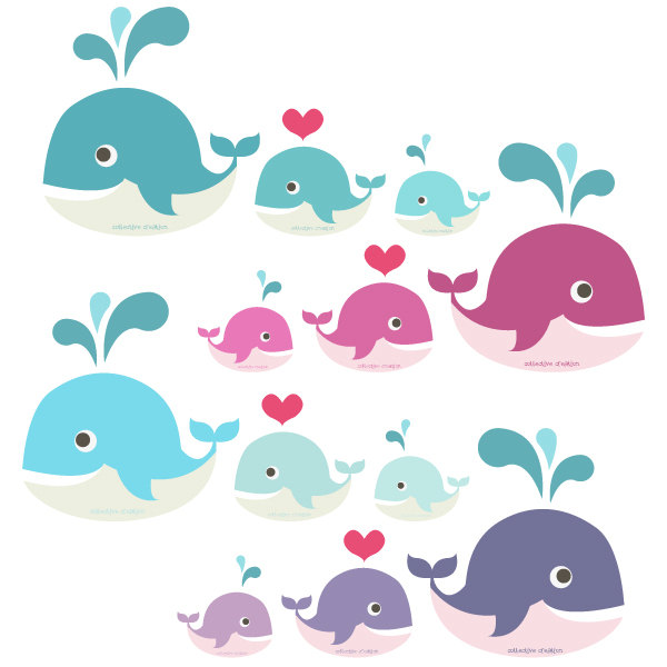 Baby whale clipart 6