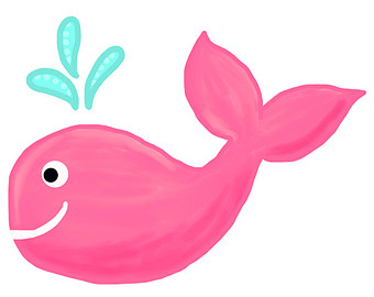 Baby whale pink whale clipart 3