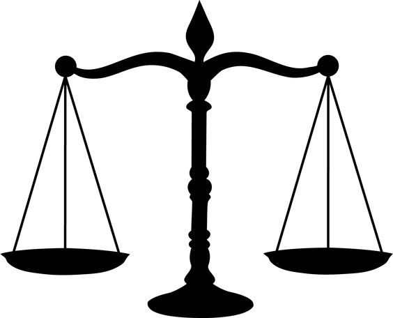 Courthouse scales of justice in a court house clipart