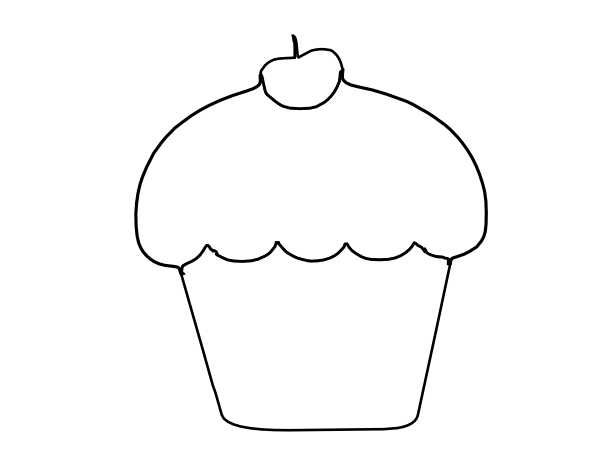Cupcake outline clipart 2