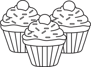Cupcake outline clipart 6