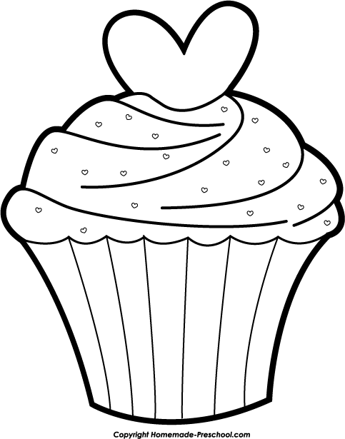 Cupcake outline clipart black and white free 2