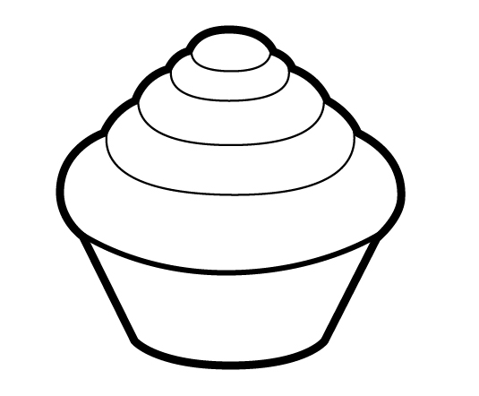 Cupcake outline clipart black and white free
