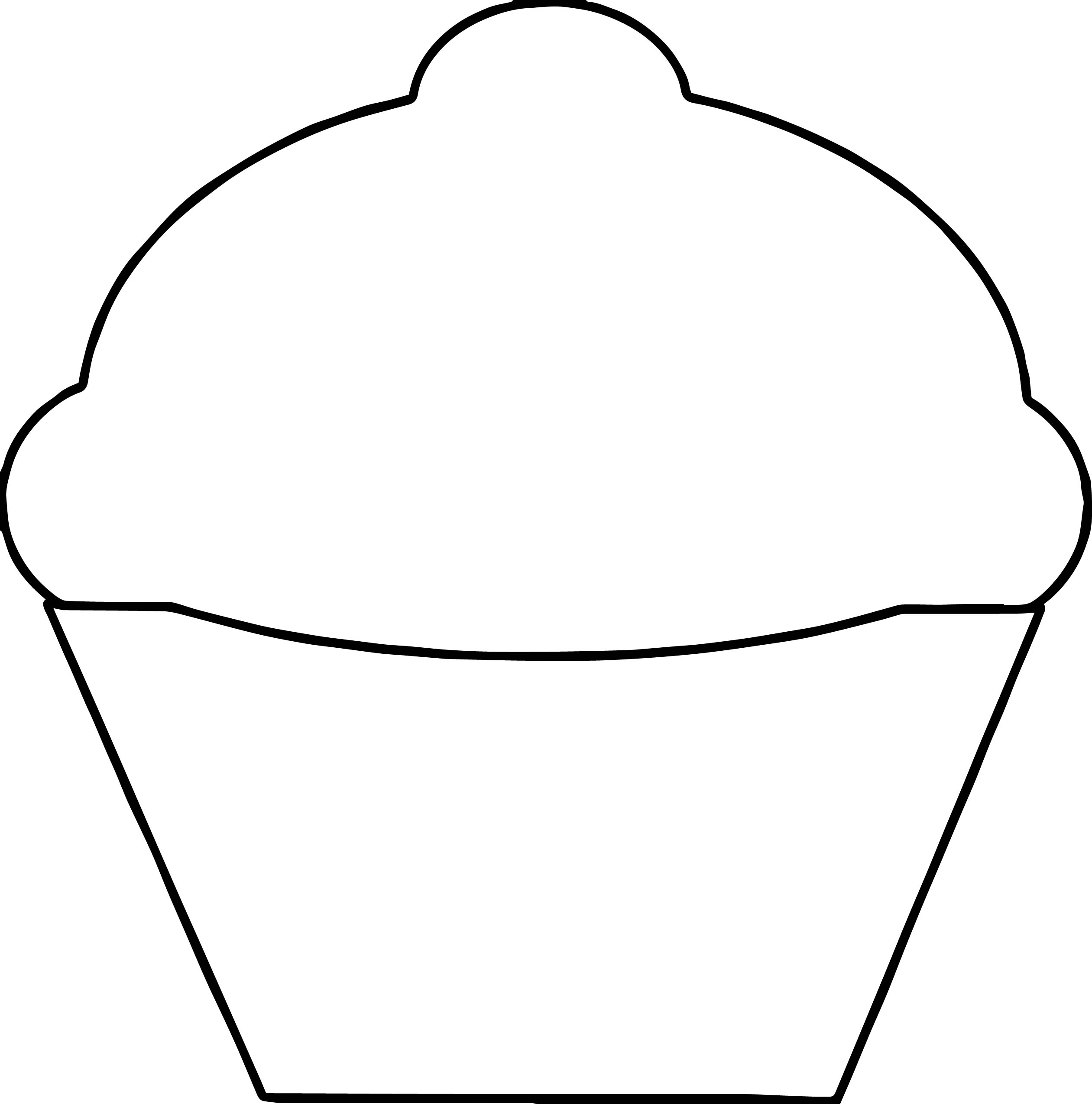 Cupcake outline cupcake coloring page