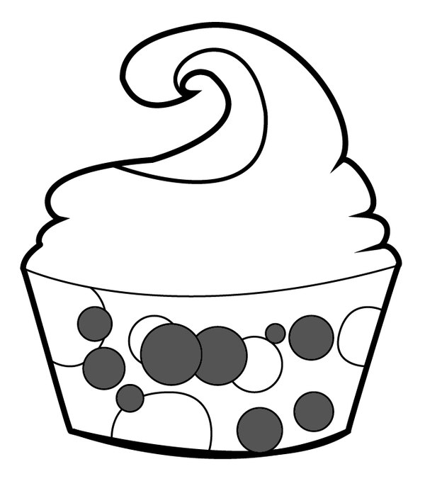 Cupcake outline outline of cupcake with face free download clip art