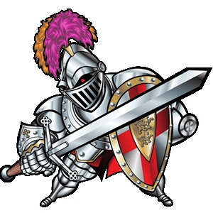 Image knight in armor holding up shield and bible christart clipart