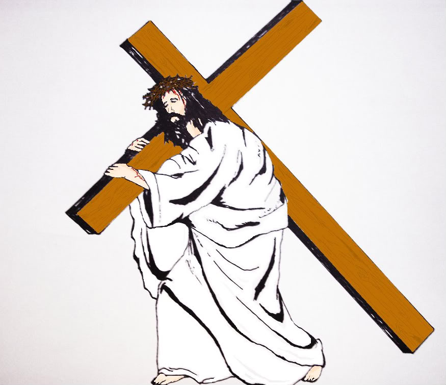 Jesus carrying cross spotlight clipart clipartfox