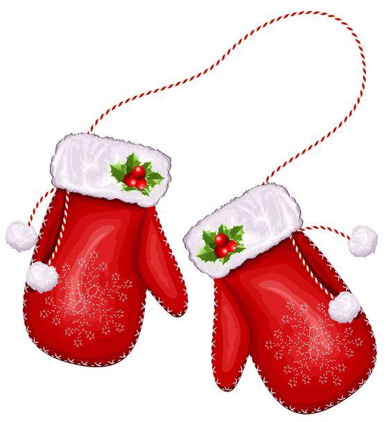 Large transparent christmas santa gloves clipart