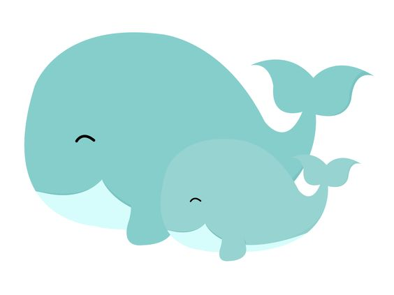 Mom and baby whale clipart 6