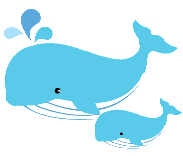 Mom and baby whale clipart