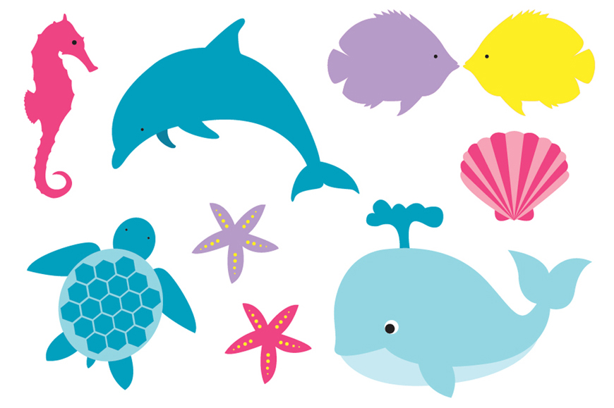 Pink baby whale clipart