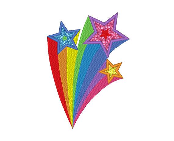 Rainbow shooting stars clipart 2