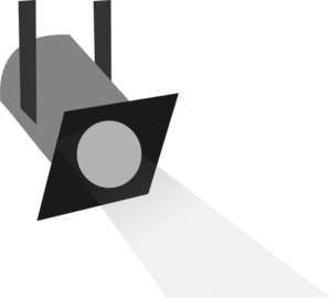 Spotlight graphic. Black and white clipart