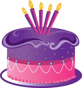 Birthday cake purple cake clipart