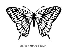 Butterfly  black and white one butterfly clipart black and white