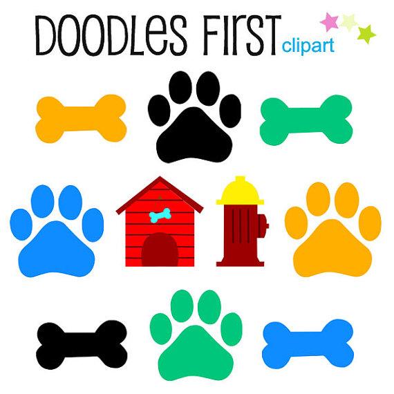 Dog bone and dog paw clipart