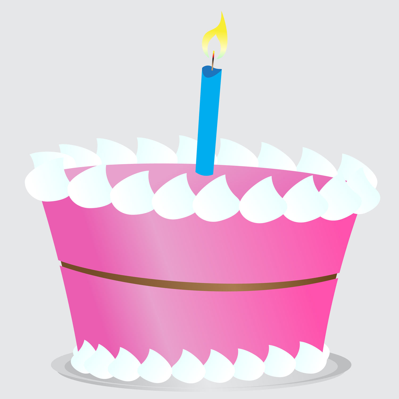 Pink birthday cake clipart 2
