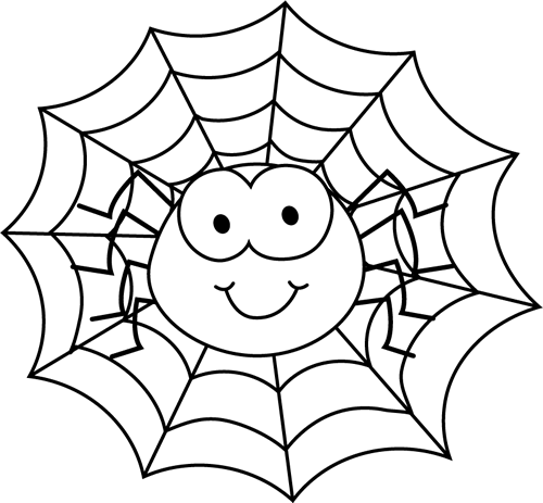 Spider black and white clipart