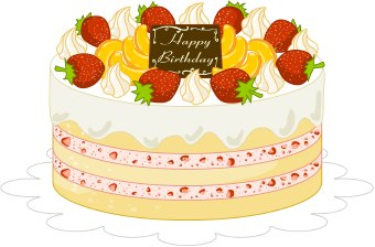 Strawberry birthday cake clipart