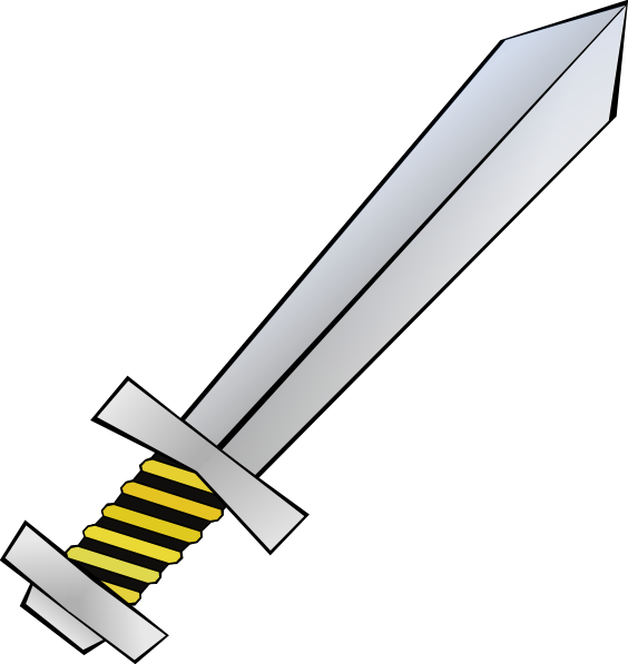 Sword black and white clipart