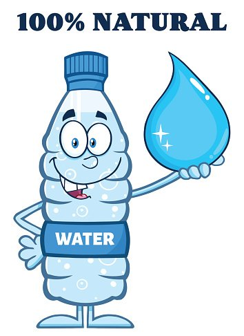 Water bottle holding a big drop with text stock vectors clip art