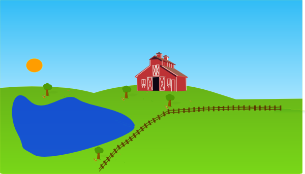 Farm with lake clip art at vector clip art