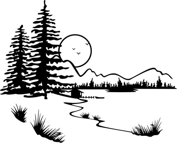 Lake clip art black and white free clipart images 2