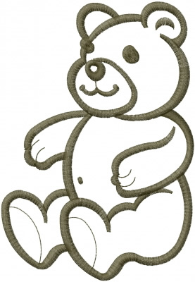 Teddy bear outline embroidery designs machine clip art