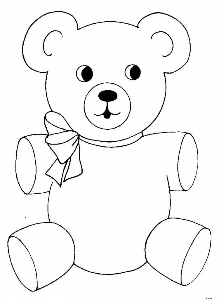 Teddy bear outline free printable teddy bear coloring pages for kids clip art