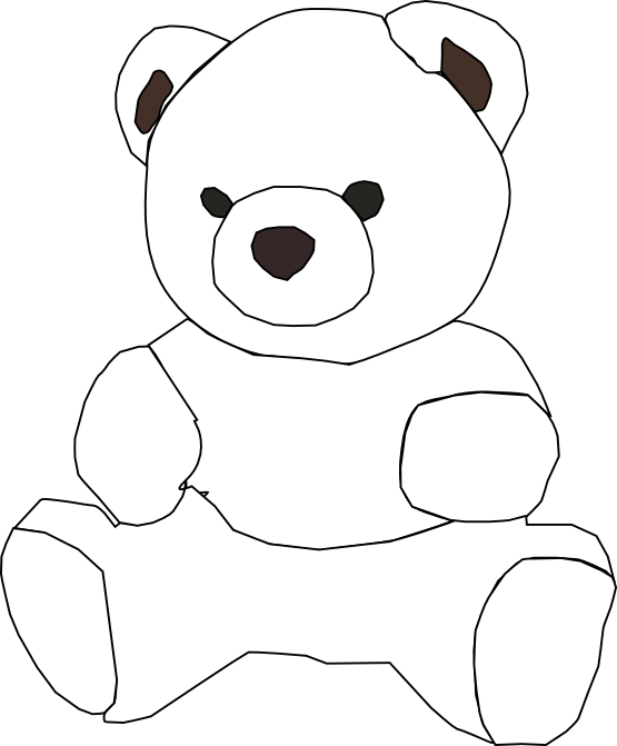 Teddy bear outline teddy bear black and white outline clipart