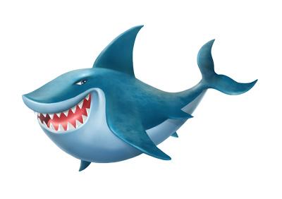 Cartoon shark clipart blue 3d fish illustration just free image