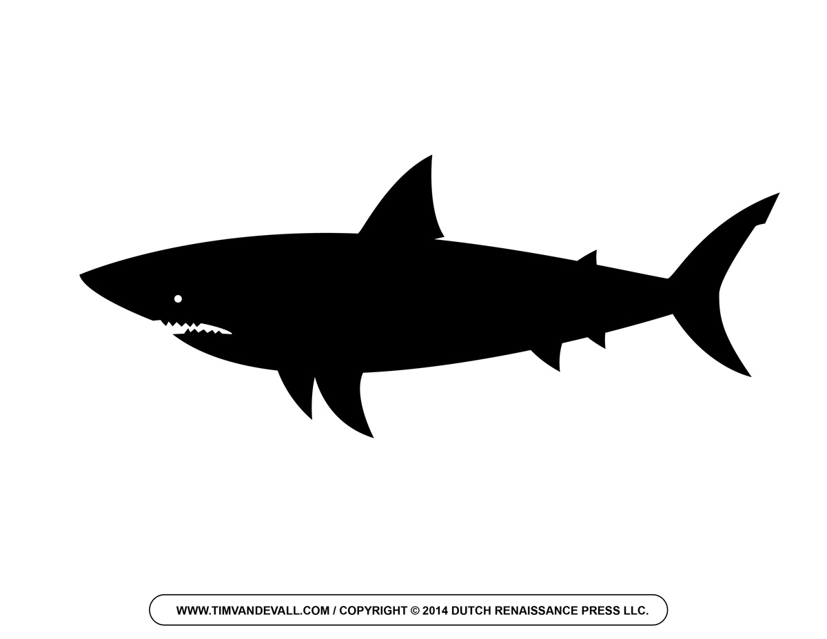 Free cartoon shark clipart outline and silhouette