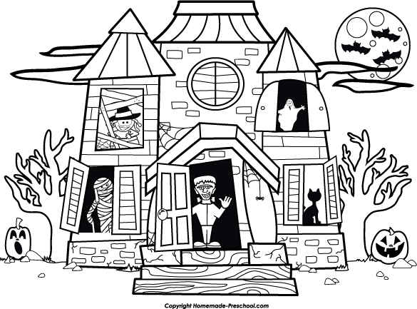 Halloween  black and white free halloween clipart 3