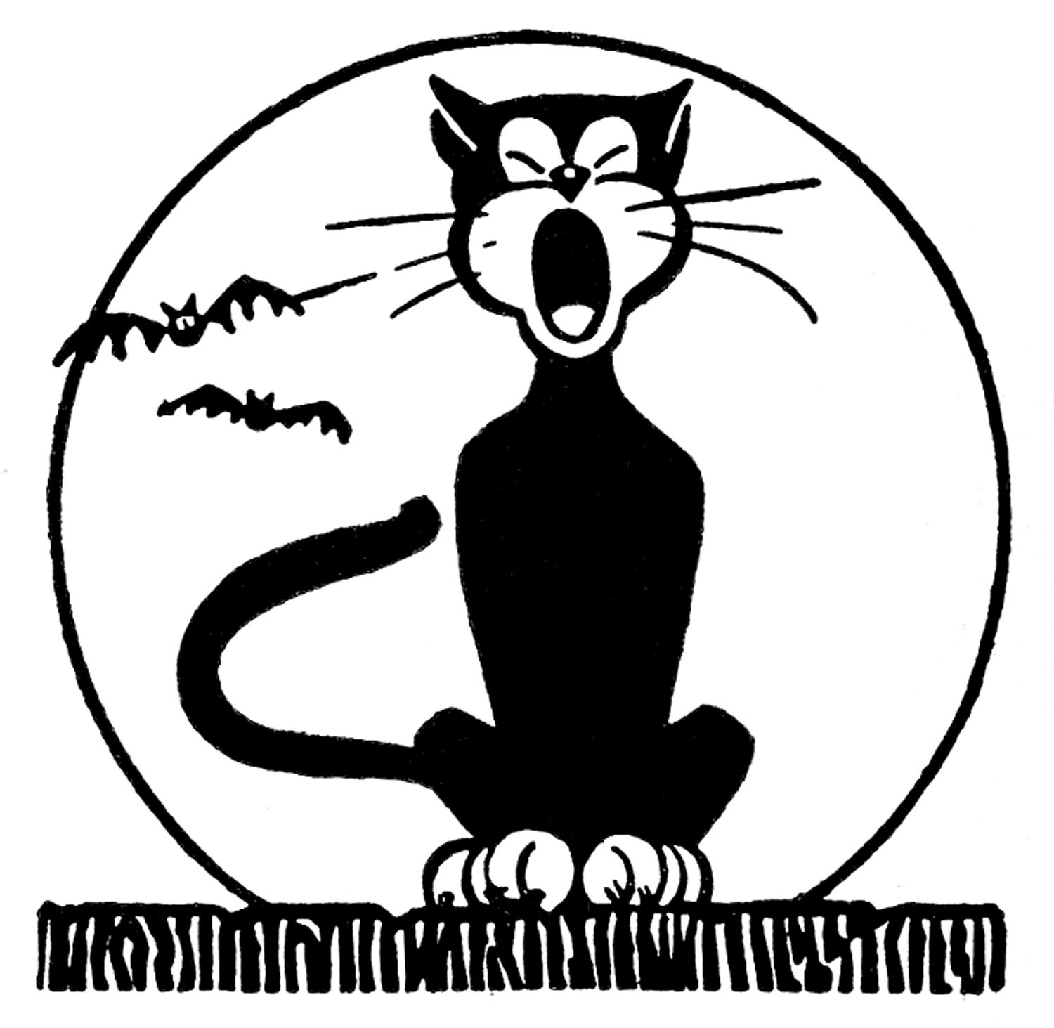 Halloween  black and white retro halloween clip art black cat with moon the graphics fairy